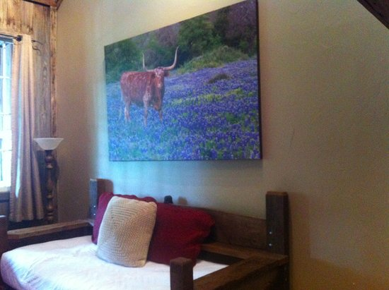 Gruene Mansion Inn Bed & Breakfast: Inside the Bluebonnet Lodge room, the living room with fold out daybed