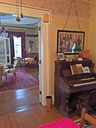 Waterloo, NY: Parlor, Antique Pedal Organ, Looking Towards Grand Room