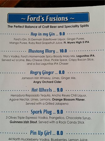fords garage sample page of the custom drink menu