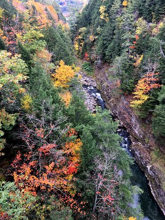View of Quechee Gorge and surrounding fall foliage
