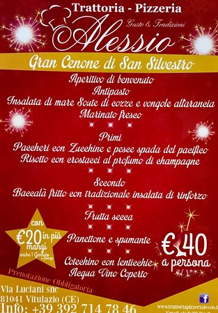 Vitulazio, İtalya: Menù San Silvestro &...