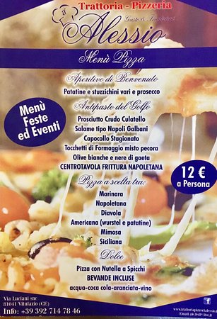 Vitulazio, İtalya: Menù Pizza