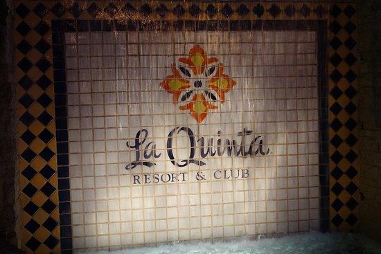 La Quinta, CA: The resort sign behind a fountain.
