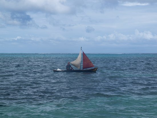 Turneffe Island, Belize: A passing dugout sail boat