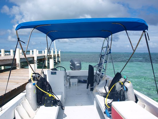 Turneffe Island, Belice: The smaller fast dive boat, w 200 hp outboard