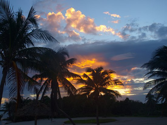 Turneffe Island, Belize: A sunset view from cabin 8 area