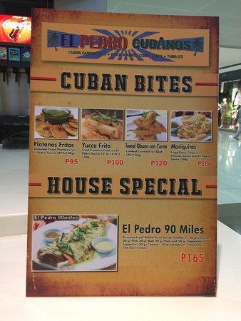 el pedro cubano the menus
