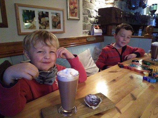 Kilshanny, Ireland: The boys enjoying their hot chocolate and Mary's pumpkin buns!