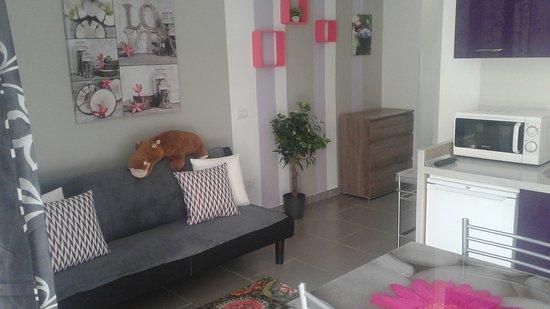 Olympia Aparthotel : soggiorno, angolo cottura
