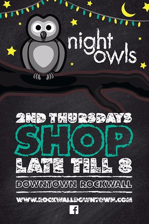 Rockwall, TX: Downtown late night on the 2nd Thurs of the month. 5pm-8pm refreshments & discounts at most stor