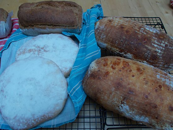 Redhill, UK: Stottie, Parmesan flavoured levain and a linseed bread.