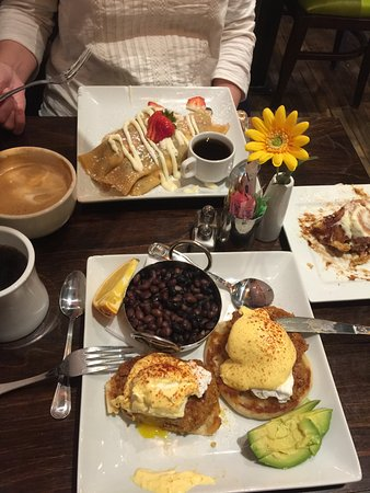 Cottonwood, AZ: eggs benedict and chorizo, and fresh fruit Crepes