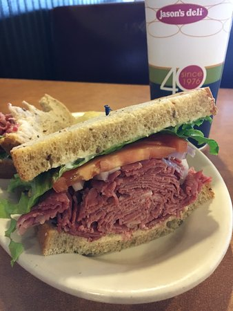 College Park, MD: Hot corned beef piled hgh on rye bread.
