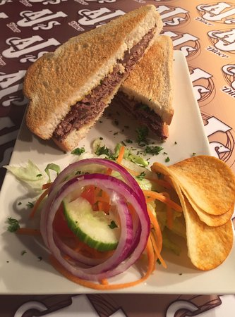 AJ's Diner: Roast beef and mustard toasted sandwich