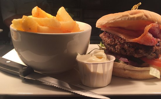 AJ's Diner: Try our steak burgers! 6oz of handcrafted 100% pure ground beef on a floury bap!