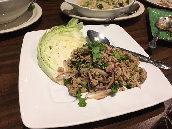 Lakewood, CA: Lightly spice grated pork Lard with accompanying crunchy cabbage leaves.