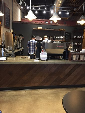 Boardman, OH: Coffee counter inside Branch Street, November 2016