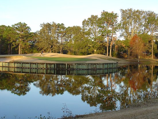 Shalimar, FL: The peninsula green on #14. Hope the pin in up front unless you are very good with your irons.