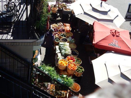 Cafe Krieghoff: Looking down at the market below.