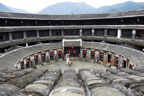 Yongding Earth Building: View from the 3rd floor of inside of a Fujian tulou