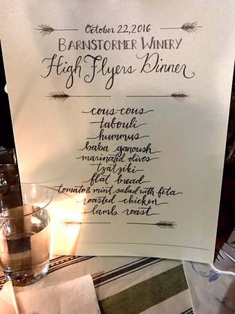 Rock Stream, NY: Menu for case club dinner