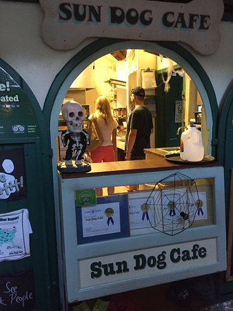 Sun Dog Cafe: Friends exploring the fresh, tiny and interesting kitchen at Sun Dog during Halloween!