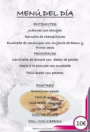 ejemplo de menú diario invierno fotografía de restaurante goterón
