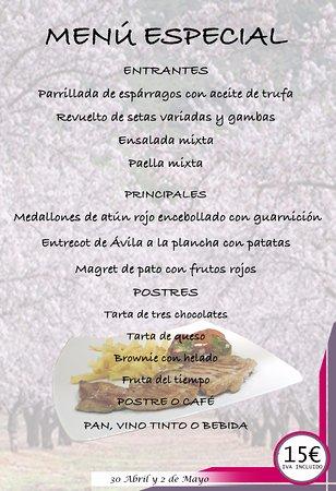 ejemplo de menú diario verano fotografía de restaurante goterón