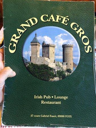 Foix, France : La carte du restaurant.