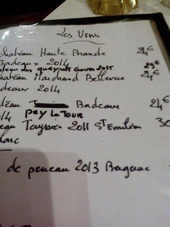 Chalais, France: une carte des vins digne de ce nom !