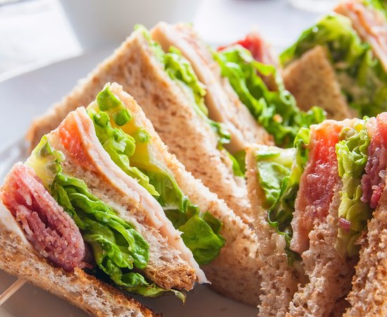 Watergate Tea Rooms: Our delicious sandwiches, served on white or wholegrain bread with salad and our creamy coleslaw