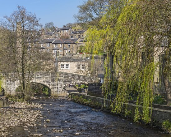 Watergate Tea Rooms: Our Tea Room Terrace overlooks the beautiful river in the centre of Hebden Bridge.