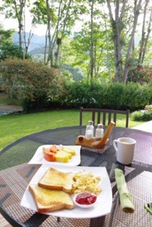 San Gerardo, Kostaryka: desayuno en la terraza