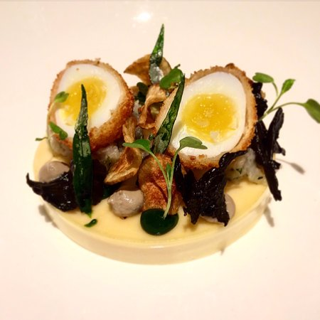 St Mawes, UK: Quails egg and goats cheese starter