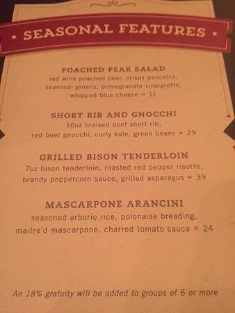 Milwaukee ChopHouse: seasonal menu