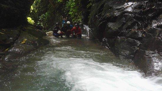 Uvita, Costa Rica: Al fondo lo que se ve es una de las cataratas de nuestro tour de Rappelling.