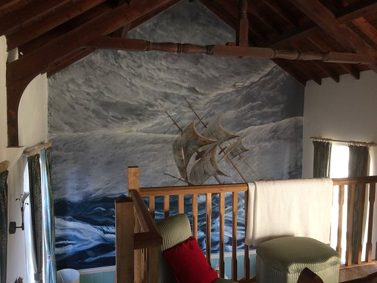 Instow, UK: View of the wall painting from the bedroom mezzanine