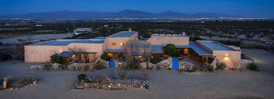Santa Teresa, NM: aerial view of the B & B, with views of the Rio Grande River Valley & Franklin Mountains of El P