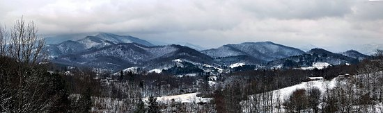 Mars Hill, NC: Winter view above Weaverville, NC looking toward Mt. Mitchell.