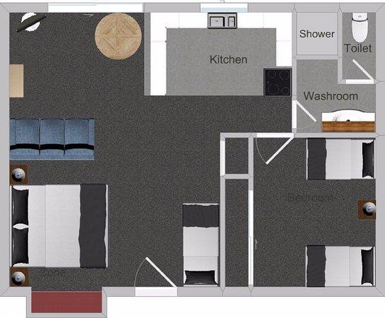 Gisborne, Nueva Zelanda: One bedroom family apartment floor plan - 48m2