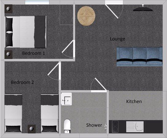 Gisborne, New Zealand: Two bedroom suite floor plan - 48m2