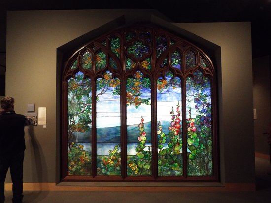 Corning, NY: Stained glass window with a Finger Lakes image