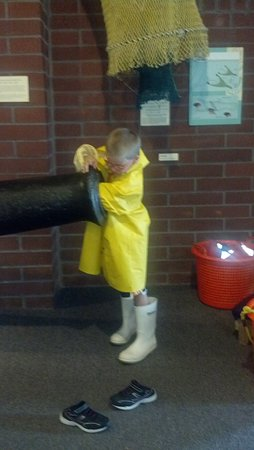 Texas Seaport Museum: pretending to be a fisherman on deck