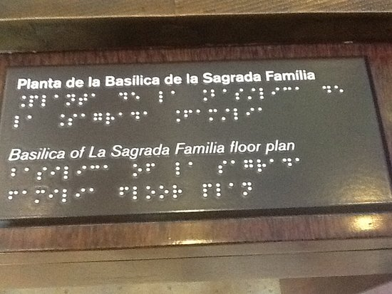 Sagrada Famlia Braille Labels On Tactile Map