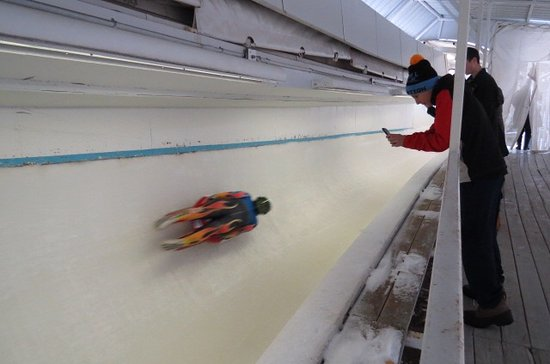 Bobsled and Luge Complex: Luge run in action