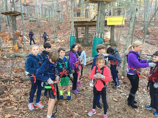 Storrs, CT: Geared up, trained, and excited to begin climbing and zip lining