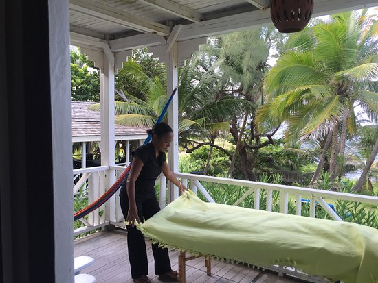 Sea-U Guest House: getting ready for my massage on the balcony with the sounds of the ocean -bliss