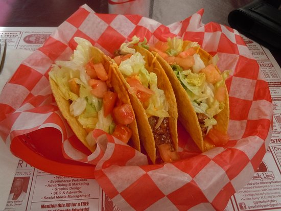 3 Tacos at Big Dog Daddy's by the Lakeside at Indian Rocks in Lake Ariel, PA near Ledgedale camp