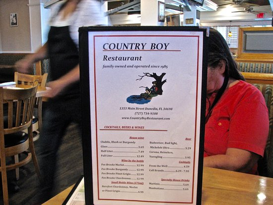 Menu - Picture of Country Boy, Dunedin - TripAdvisor