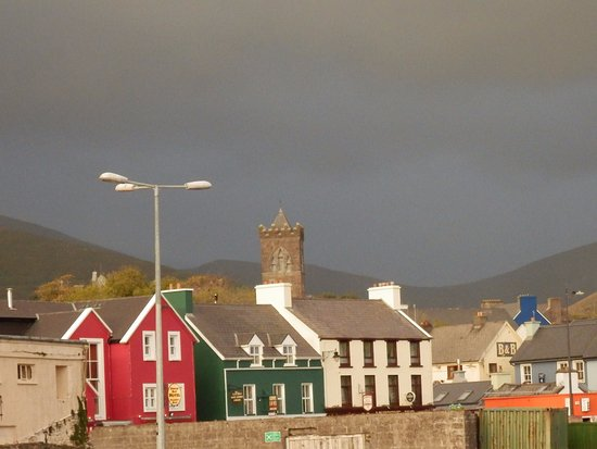 Dingle bay hotel is the red building